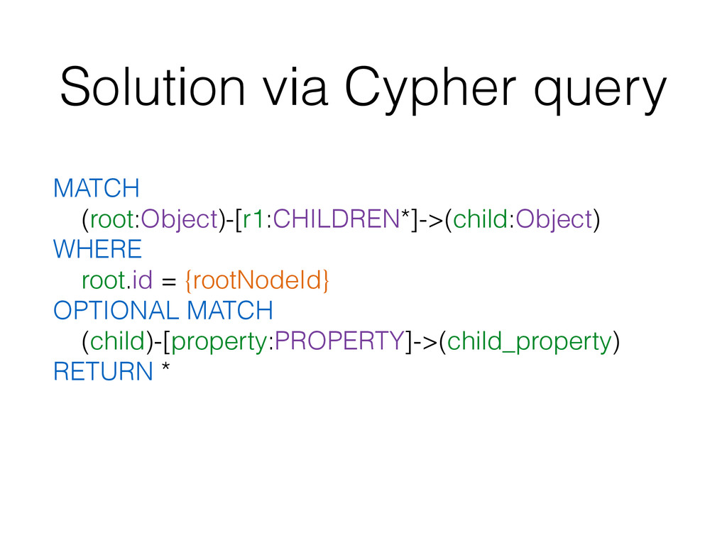Solution via Cypher query MATCH (root:Object)-[...