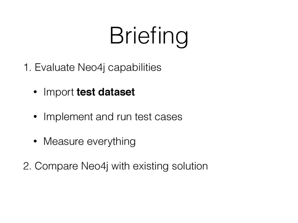 Briefing 1. Evaluate Neo4j capabilities • Import...