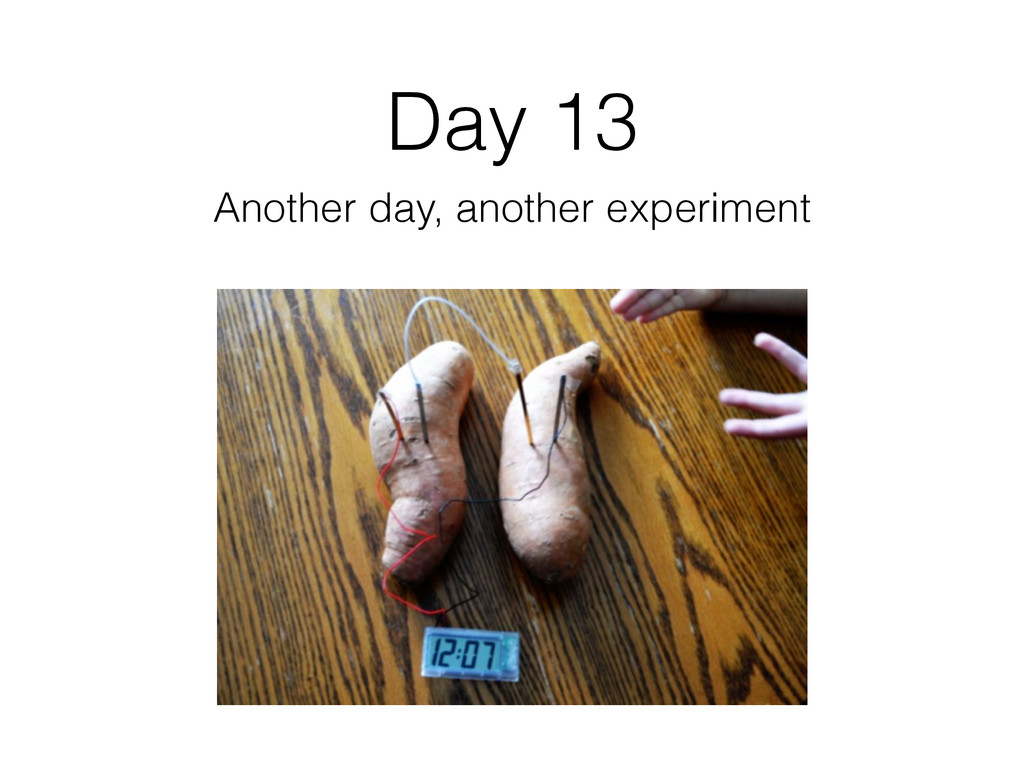 Day 13 Another day, another experiment