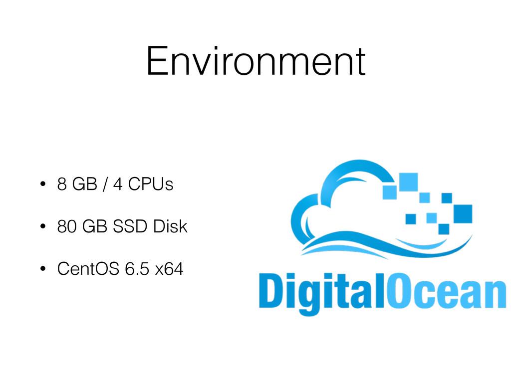 Environment • 8 GB / 4 CPUs • 80 GB SSD Disk • ...