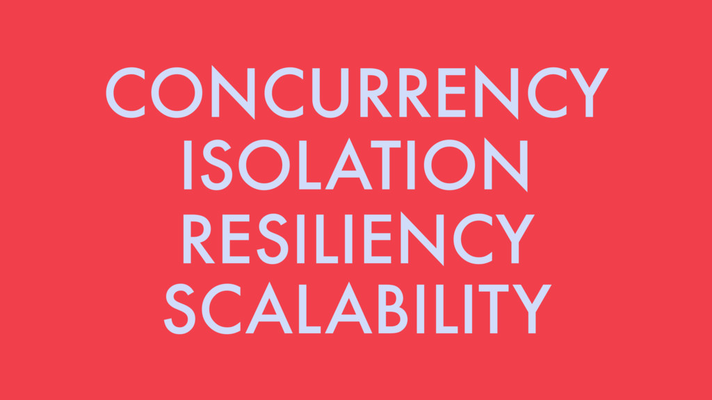 CONCURRENCY ISOLATION RESILIENCY SCALABILITY