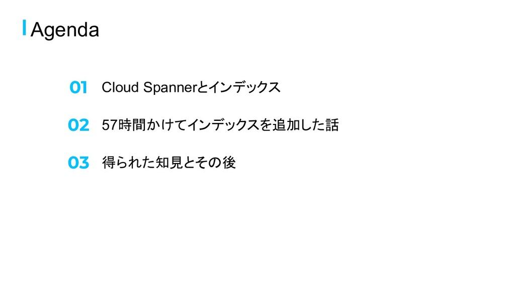 Cloud Spannerとインデックス Agenda 57時間かけてインデックスを追加した話...