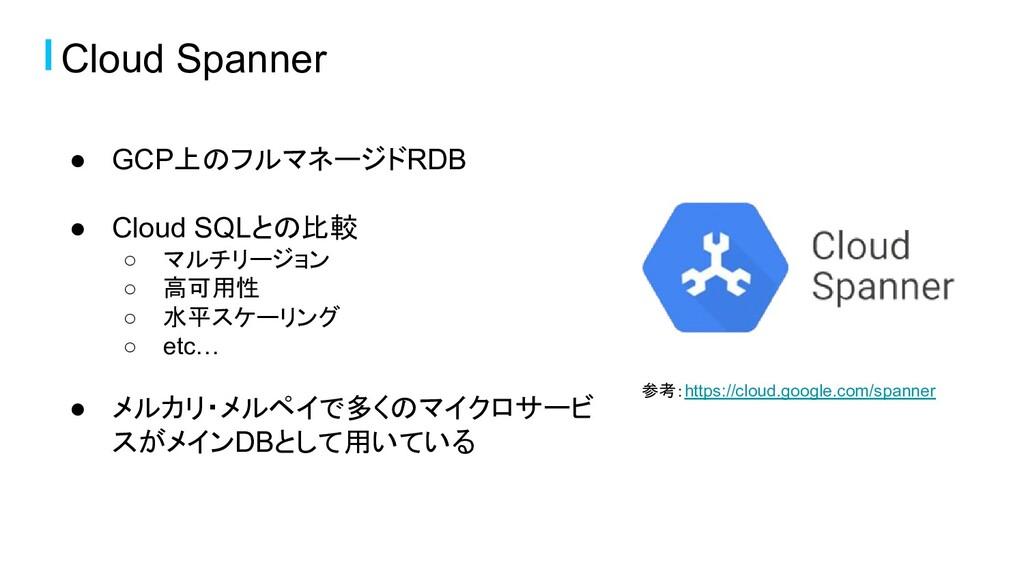Cloud Spanner ● GCP上のフルマネージドRDB ● Cloud SQLとの比較...