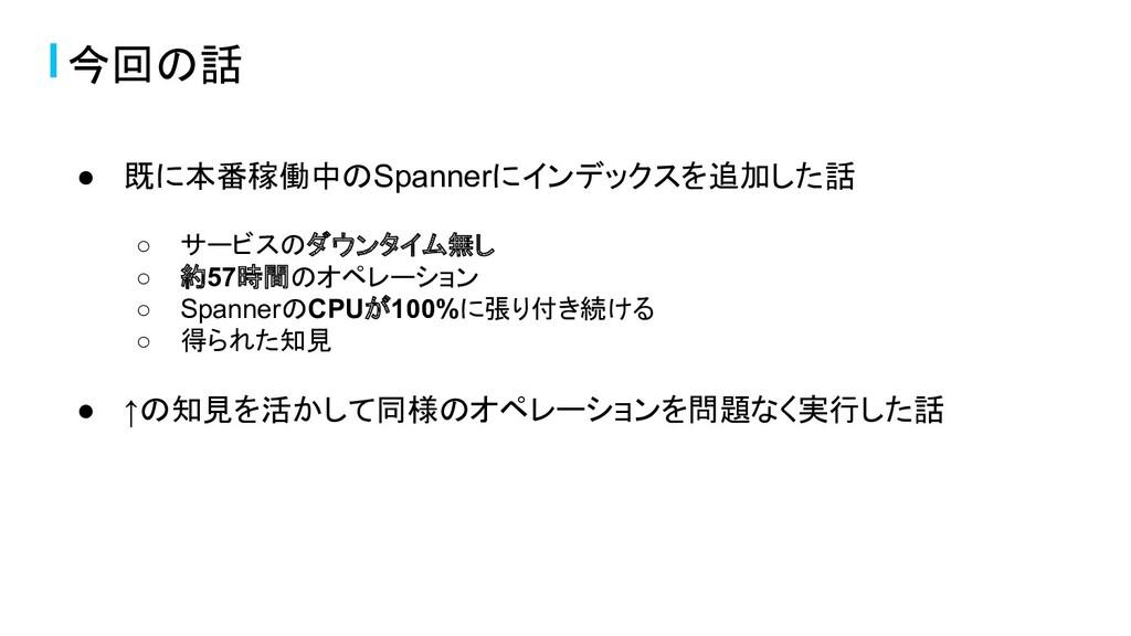 今回の話 ● 既に本番稼働中のSpannerにインデックスを追加した話 ○ サービスのダウンタ...