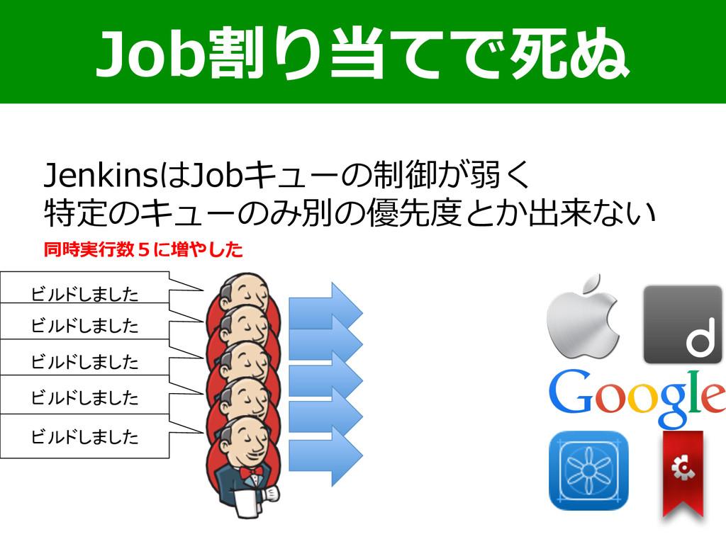 Job割り当てで死ぬ JenkinsはJobキューの制御が弱く 特定のキューのみ別の優先度度と...