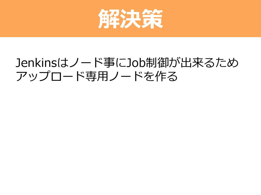 解決策 Jenkinsはノード事にJob制御が出来るため アップロード専⽤用ノードを作る