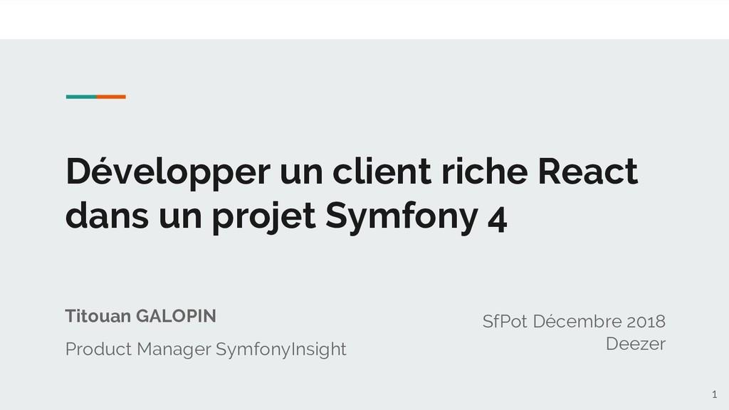 Développer un client riche React dans un projet...