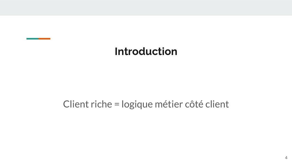 Client riche = logique métier côté client Intro...