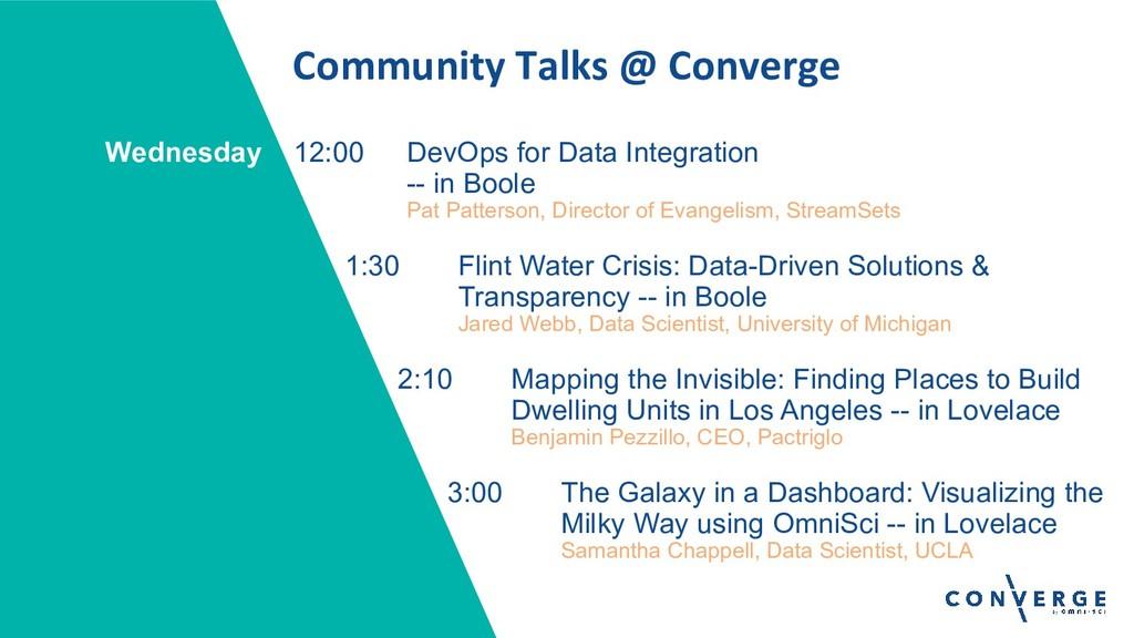 Community Talks @ Converge 12:00 DevOps for Dat...