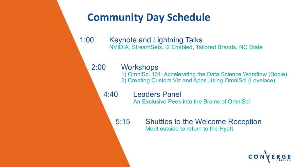 Community Day Schedule 1:00 Keynote and Lightni...