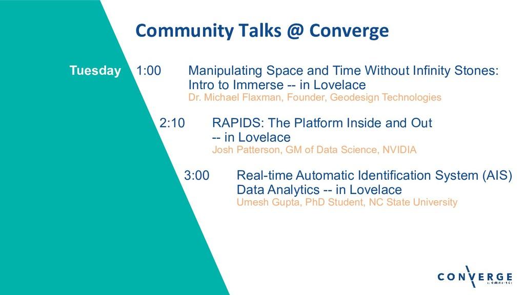 Community Talks @ Converge 1:00 Manipulating Sp...