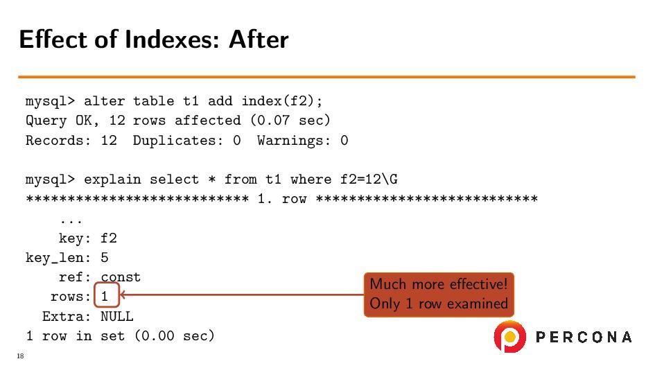 mysql> alter table t1 add index(f2); Query OK, ...