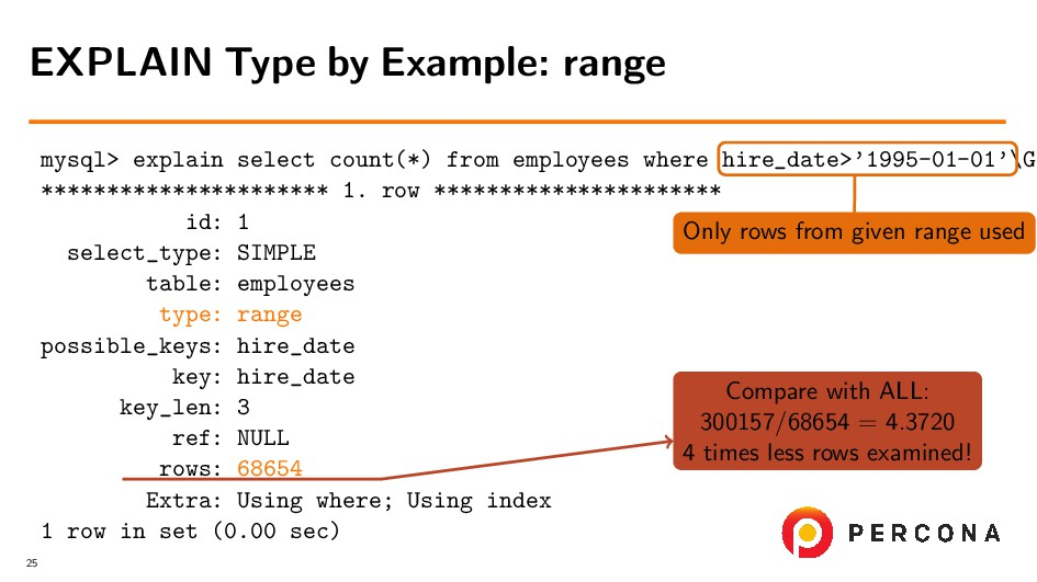 mysql> explain select count(*) from employees w...