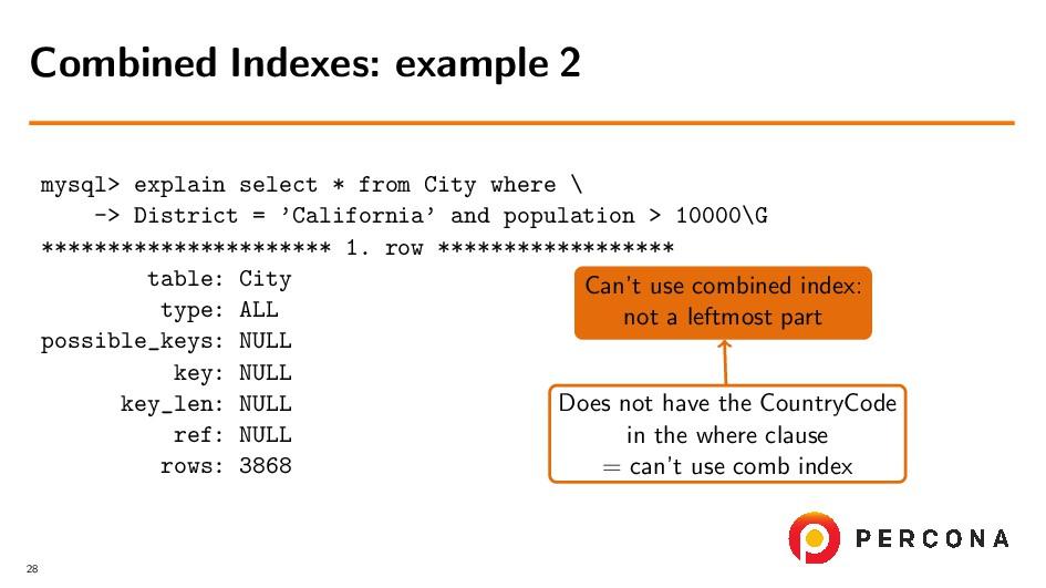 mysql> explain select * from City where \ -> Di...