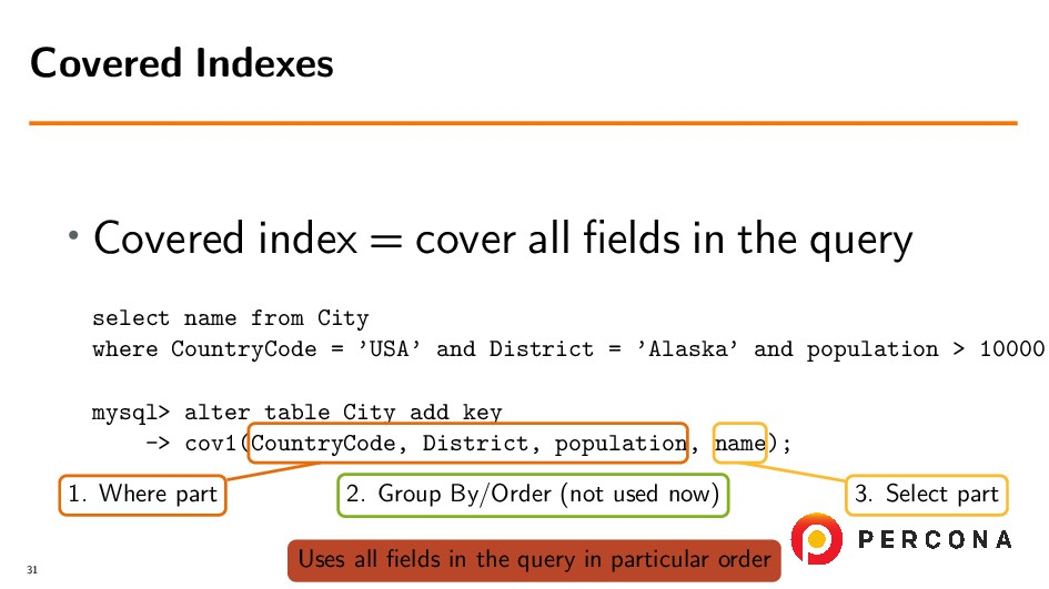 • Covered index = cover all fields in the query ...