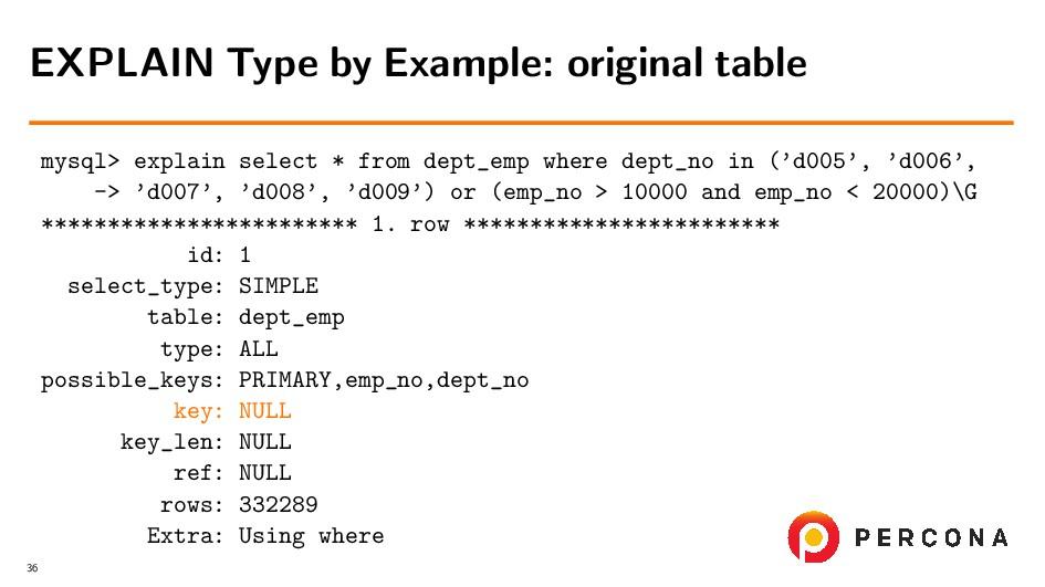 mysql> explain select * from dept_emp where dep...