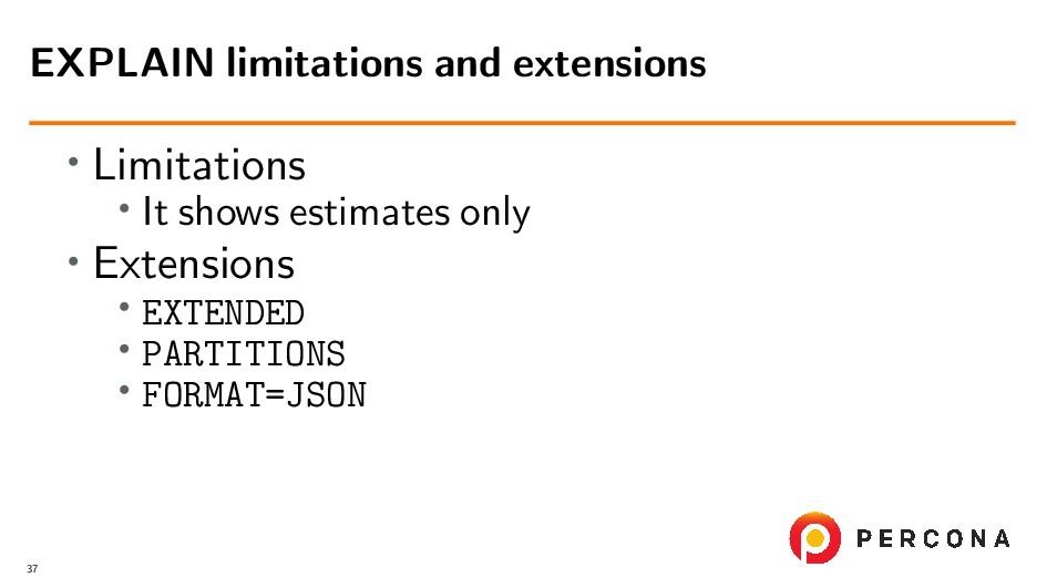 • Limitations • It shows estimates only • Exten...