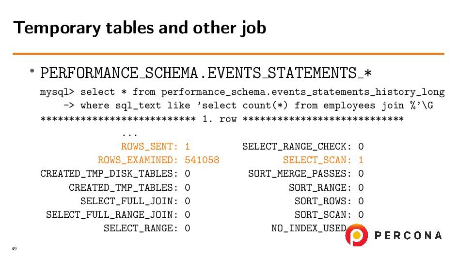 • PERFORMANCE SCHEMA.EVENTS STATEMENTS * mysql>...