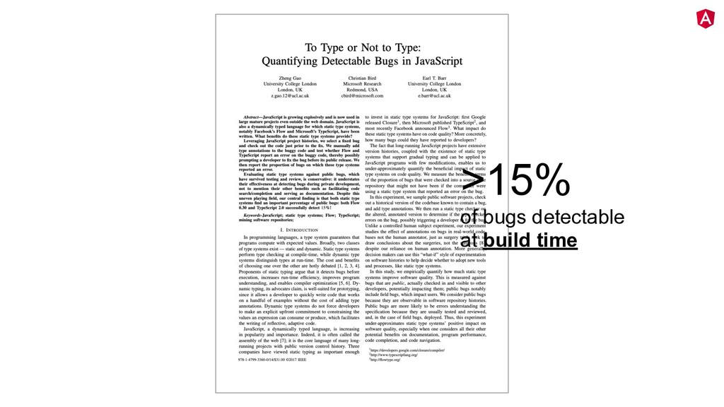 twitter.com/mgechev >15% of bugs detectable at ...