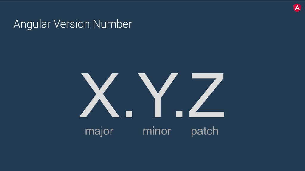 Angular Version Number X.Y.Z major minor patch