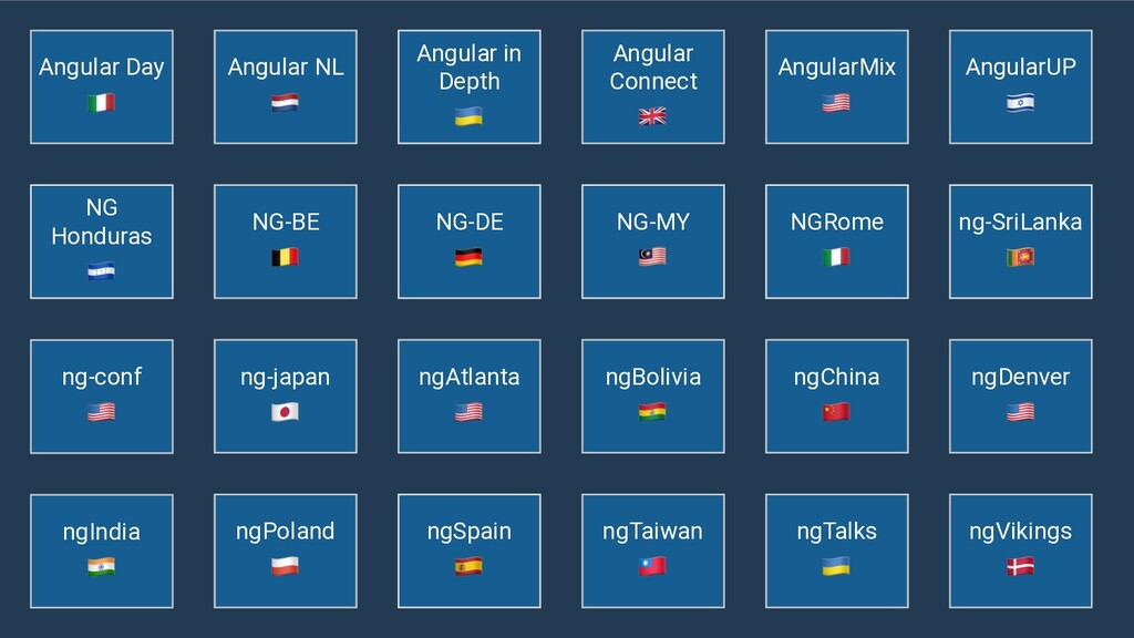 ngAtlanta  ngIndia  Angular NL  ng-conf  ngViki...