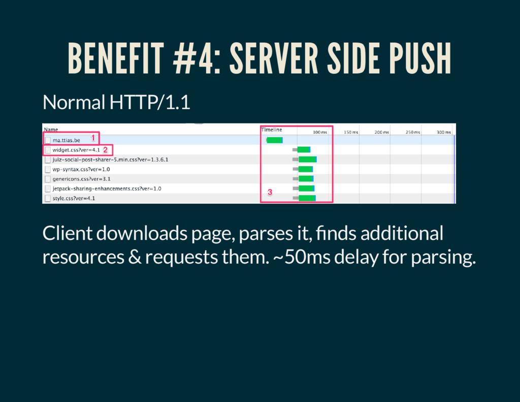 BENEFIT #4: SERVER SIDE PUSH Normal HTTP/1.1 Cl...