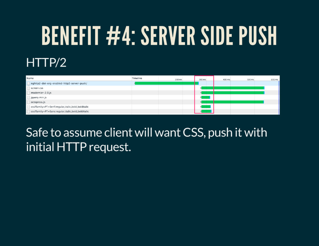 BENEFIT #4: SERVER SIDE PUSH HTTP/2 Safe to ass...