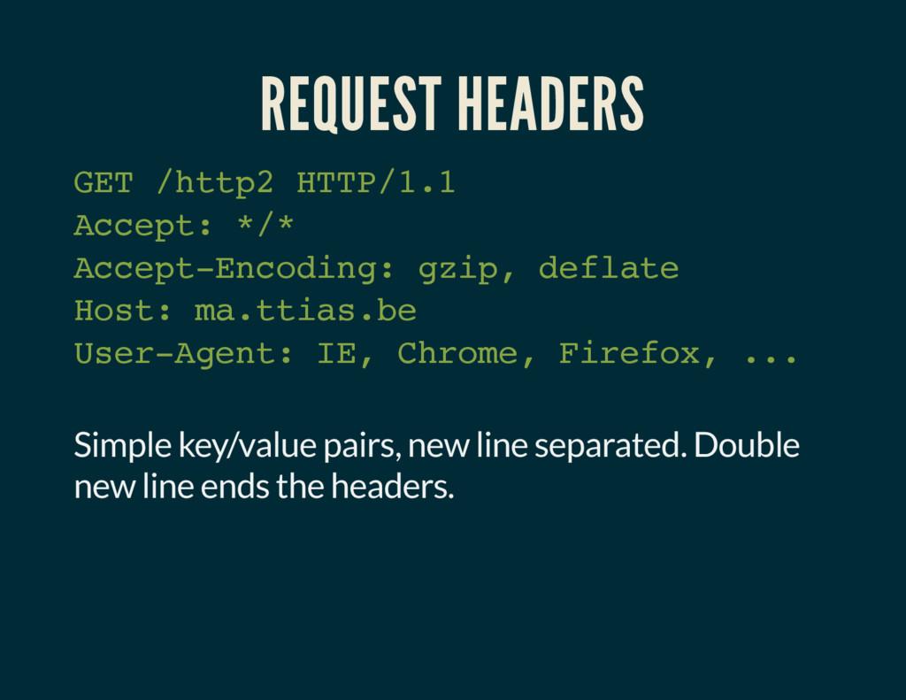 REQUEST HEADERS GET /http2 HTTP/1.1 Accept: */*...