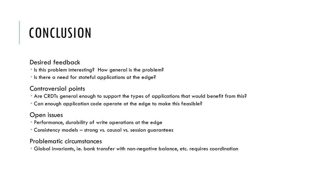 CONCLUSION Desired feedback  Is this problem i...