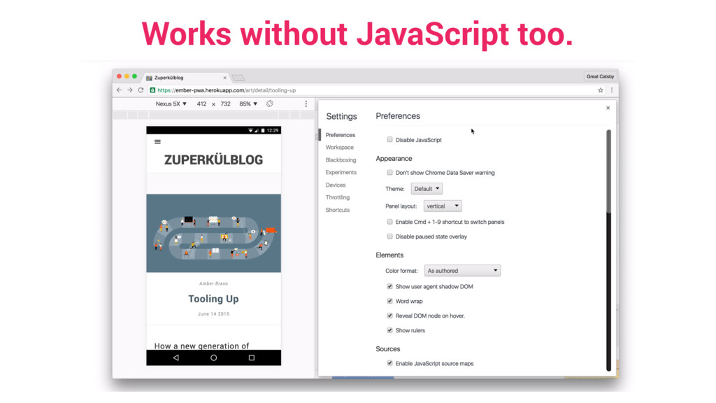 Works without JavaScript too.