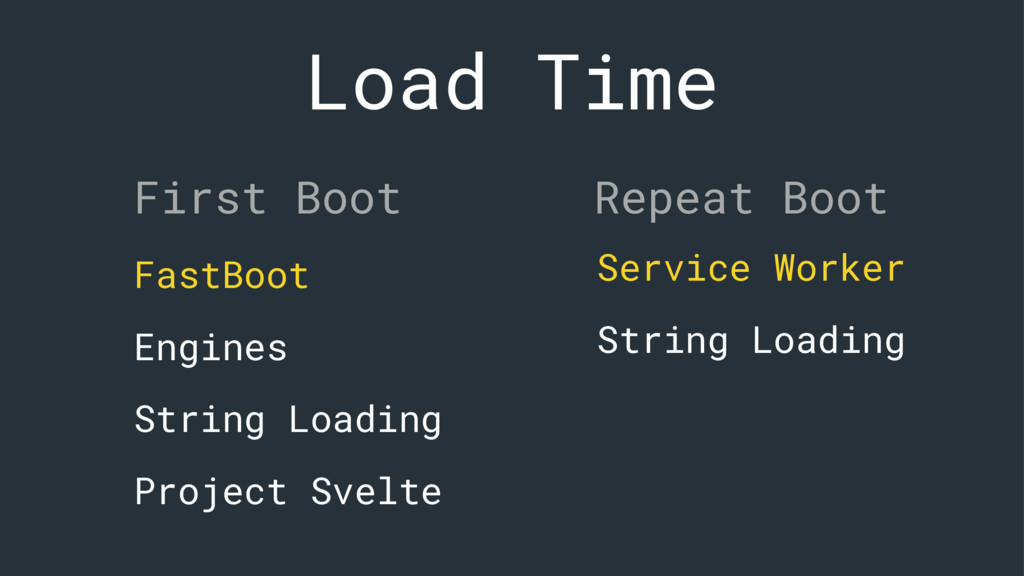 Load Time First Boot Repeat Boot FastBoot Engin...