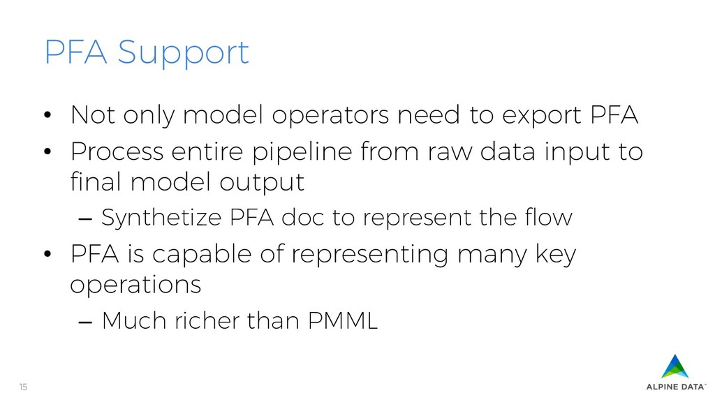 15 PFA Support • Not only model operators need...