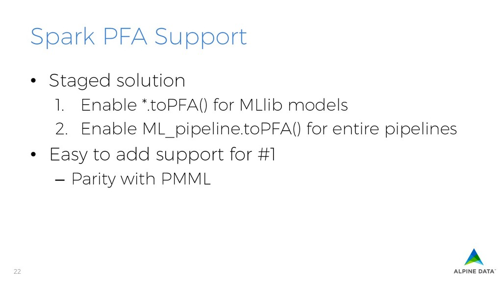 22 Spark PFA Support • Staged solution 1. Ena...