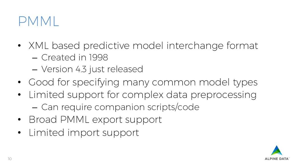 10 PMML • XML based predictive model interchan...