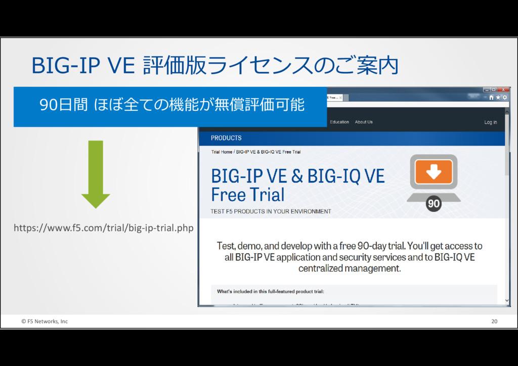 © F5 Networks, Inc 20 BIG-IP VE 評価版ライセンスのご案内 90...