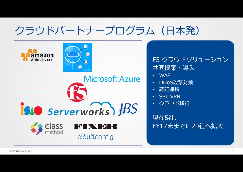 © F5 Networks, Inc 5 クラウドパートナープログラム(日本発) F5 クラウ...