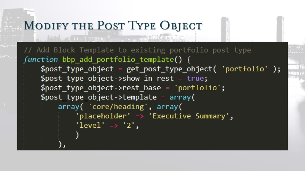 Modify the Post Type Object