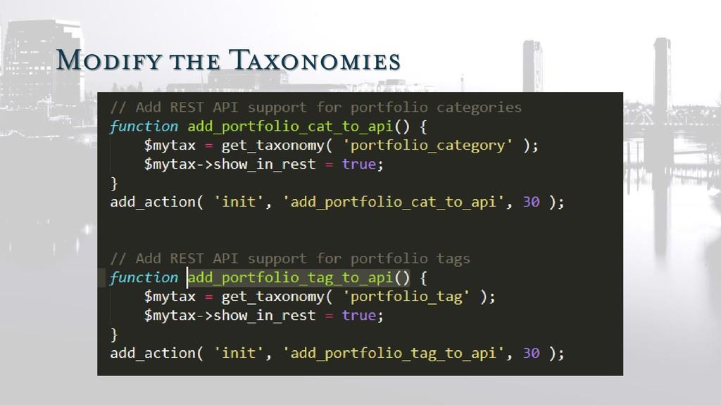 Modify the Taxonomies