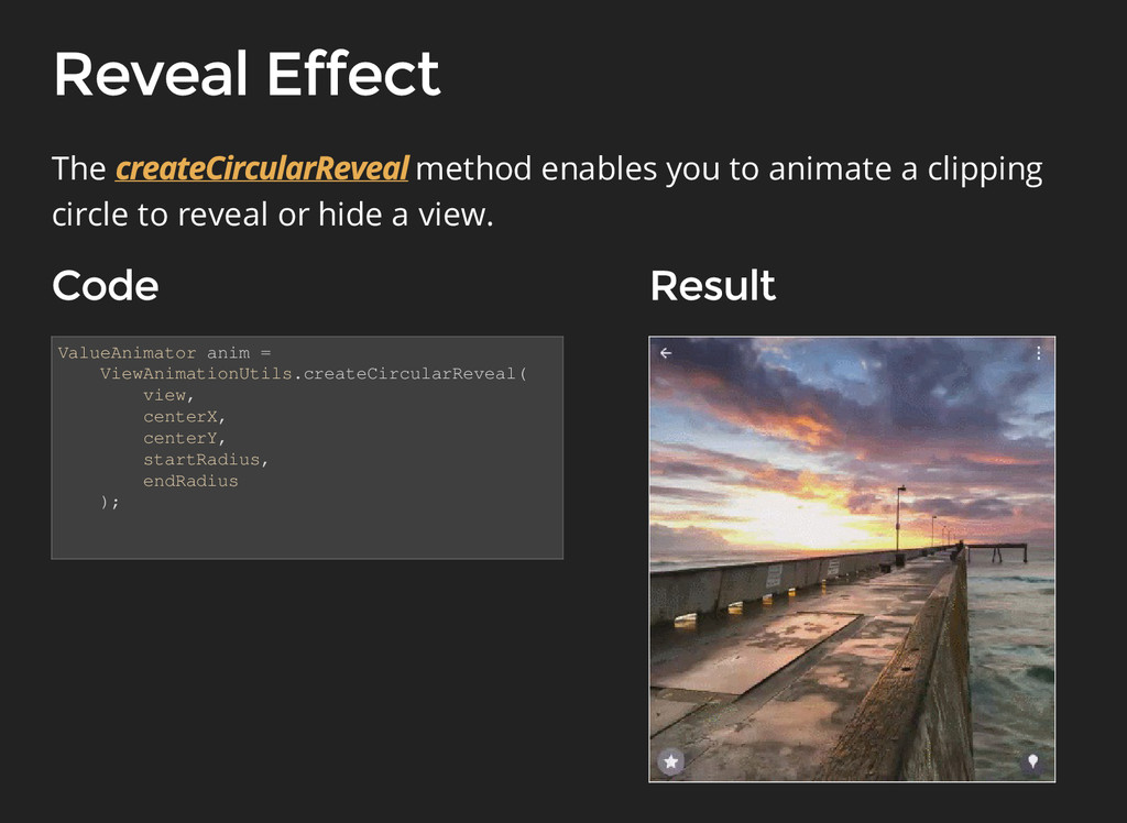 ValueAnimator anim = ViewAnimationUtils.createC...