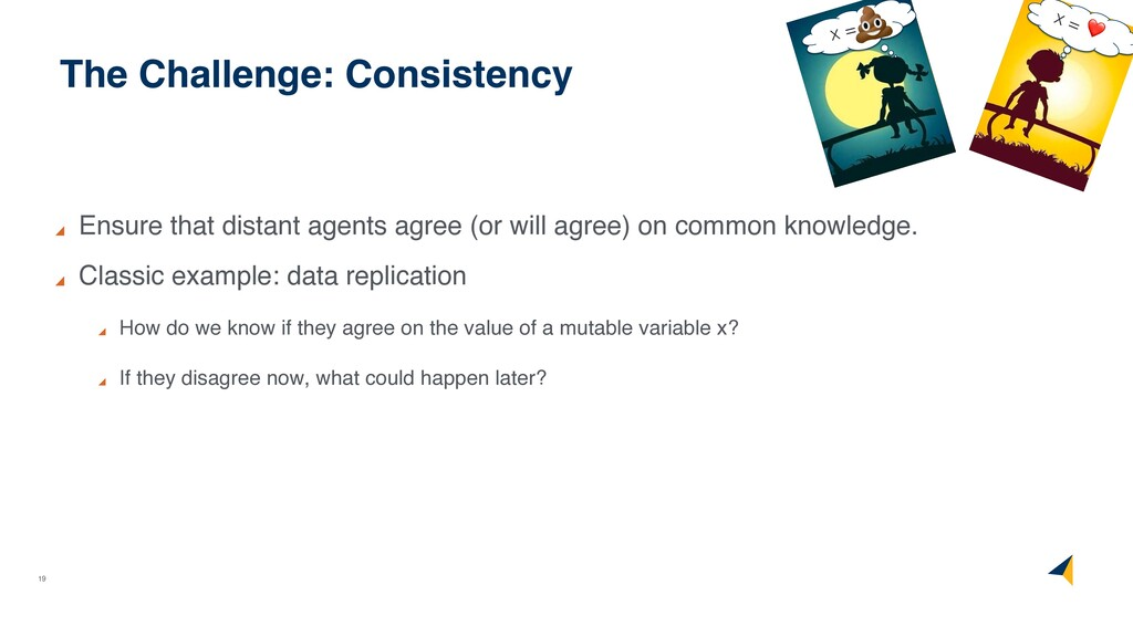 19 The Challenge: Consistency Ensure that dista...