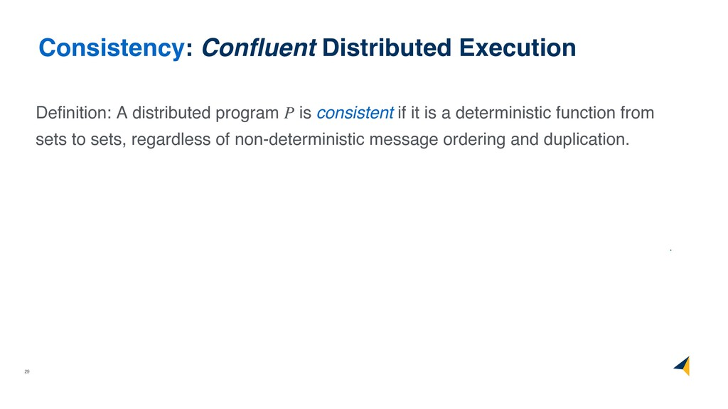 29 Consistency: Confluent Distributed Execution ...