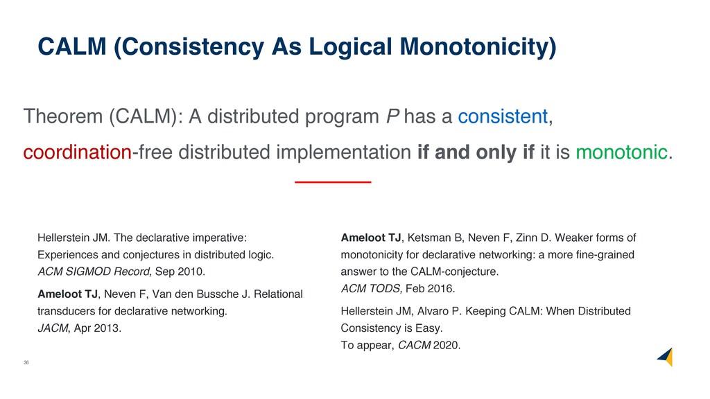 36 CALM (Consistency As Logical Monotonicity) T...