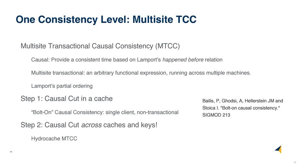 48 One Consistency Level: Multisite TCC Multisi...