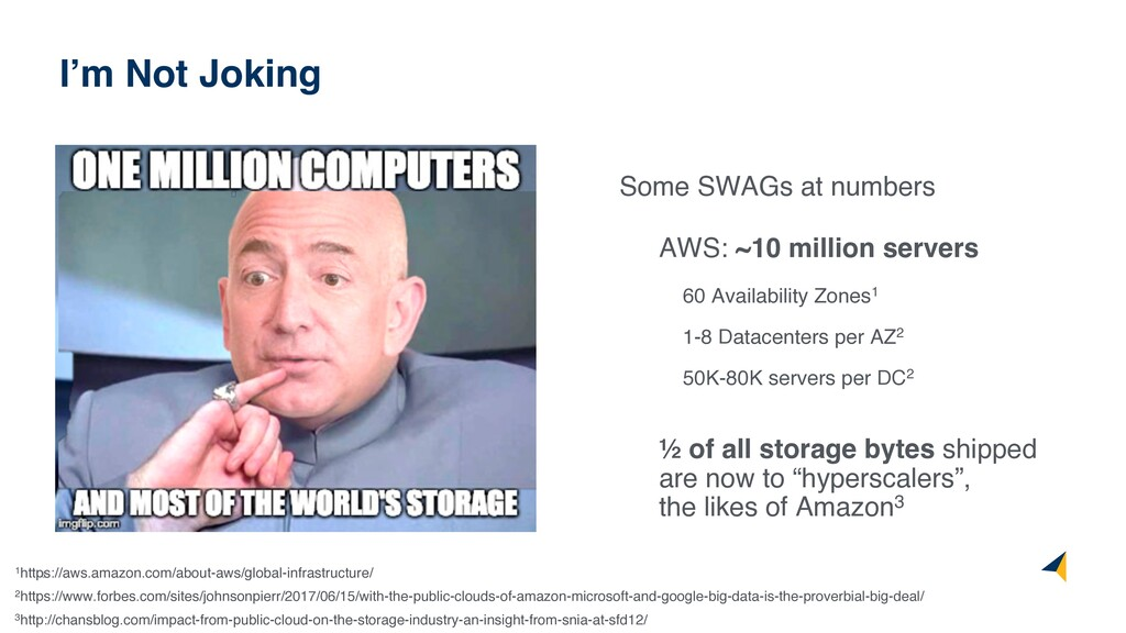 6 Some SWAGs at numbers AWS: ~10 million server...
