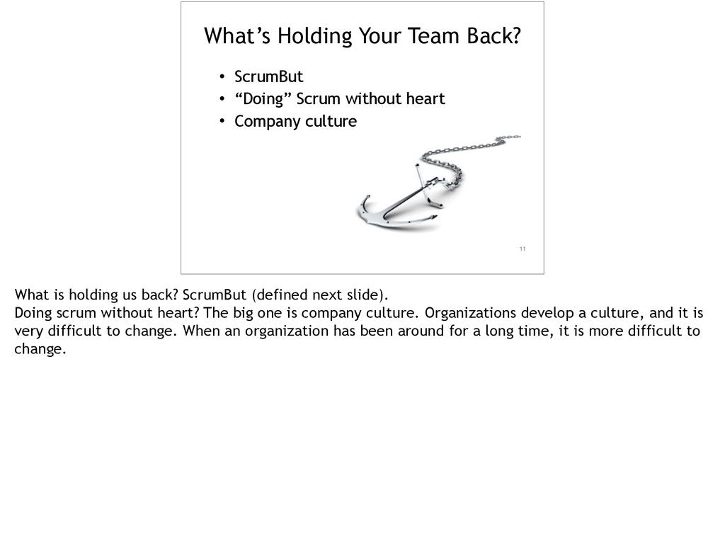 """What's Holding Your Team Back? • ScrumBut • """"Do..."""