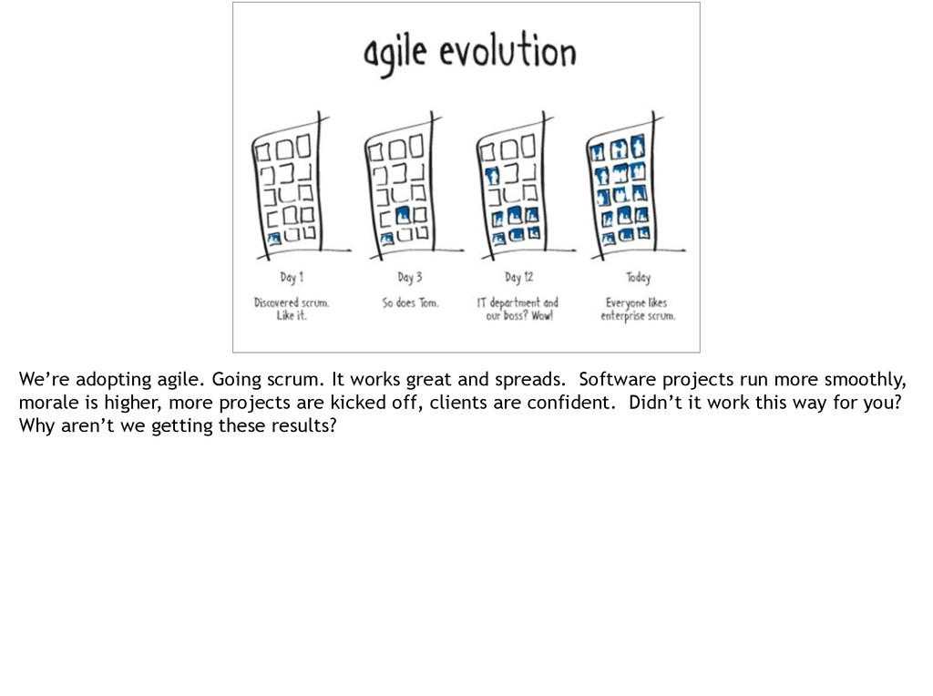 3 We're adopting agile. Going scrum. It works g...