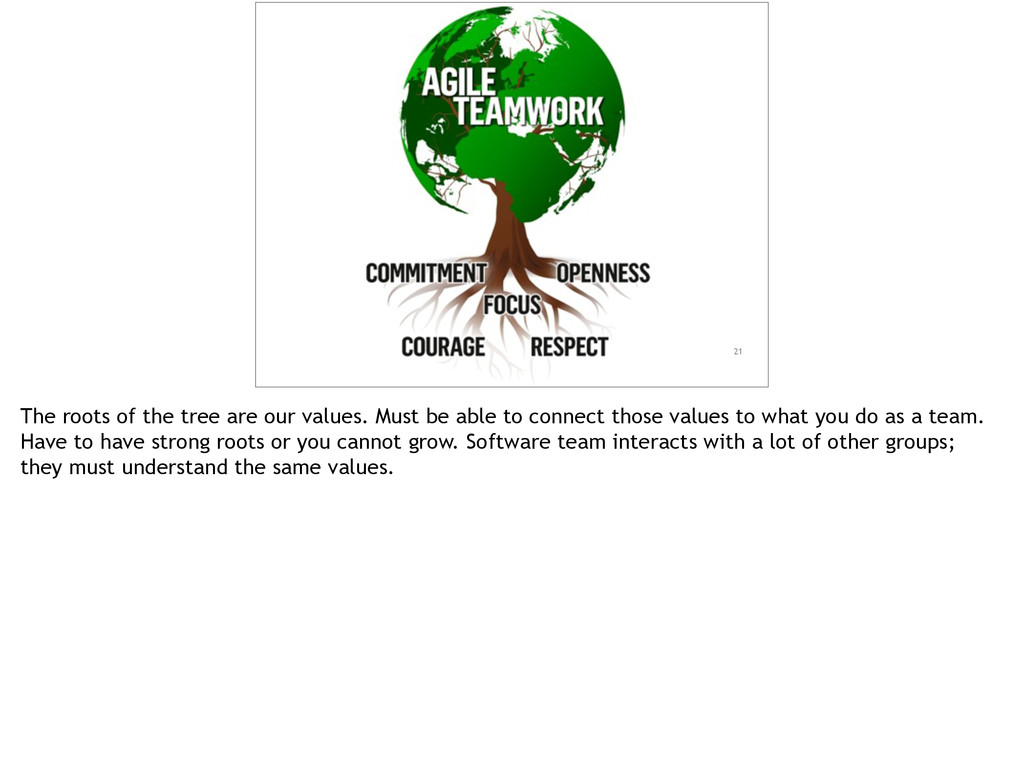 21 The roots of the tree are our values. Must b...
