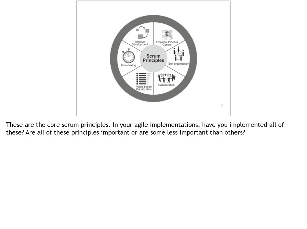 5 These are the core scrum principles. In your ...