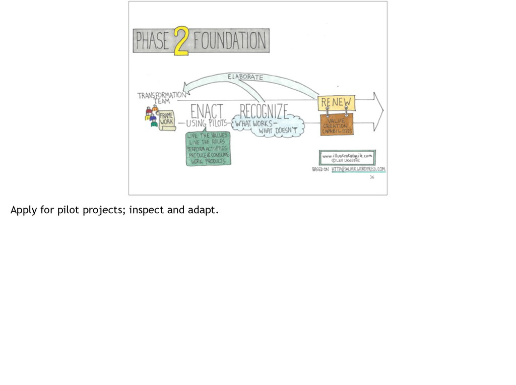 36 Apply for pilot projects; inspect and adapt.
