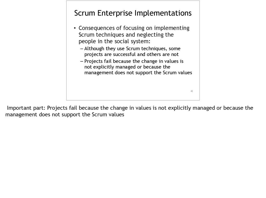 Scrum Enterprise Implementations • Consequences...